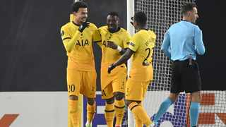Tottenham's Dele Alli (left) celebrates with his team mates after he scored the 2-3 goal from the penalty spot during the UEFA Europa League group J match between LASK and Tottenham Hotspur in Linz, Austria, 03 December 2020. Photo: EPA/Christian Bruna