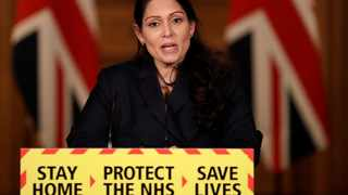 Britain's Home Secretary Priti Patel speaks during a news conference about the ongoing situation with the coronavirus disease (COVID-19) pandemic. File picture: Matt Dunham/Pool via Reuters