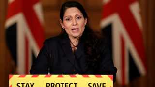 Britain's Home Secretary Priti Patel speaks during a news conference about the ongoing situation with the coronavirus disease. Picture: Matt Dunham/Pool via Reuters