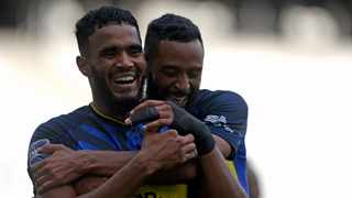 Cape Town City's Tashreeq Morris celebrates with teammate Taariq Fielies during their DStv Premiership match against SuperSport United. Picture: Ryan Wilkisky/BackpagePix