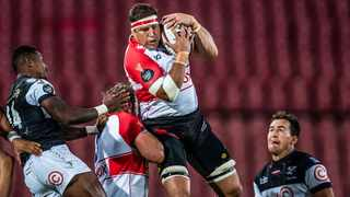 Lions forward Willem Alberts collects the ball during their Currie Cup game against the Sharks at Ellis Park in Johannesburg on Saturday evening. Photo: @LionsRugbyCo/Twitter