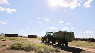 A TRACTOR drives towards the entrance of the Estina Dairy Farm near Vrede. File picture