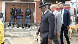 Police Minister Bheki Cele visited the shebeen in Khayelitsha where seven people were shot dead. Picture: Phando Jikelo / African News Agency (ANA)