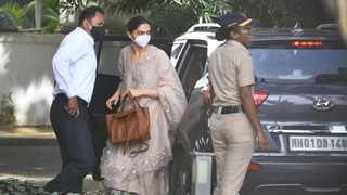 Bollywood actress Deepika Padukone, centre, arrives at the office of narcotics control board in Mumbai. Picture: AP