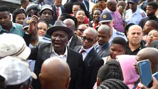 Police Minister Bheki Cele in Site C, Khayelitsha, following the murder of Constable Ncedo Katoyi this week. Photo: African News Agency