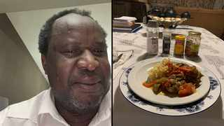 Finance Minister Tito Mboweni and one of his latest dishes. Picture: Twitter