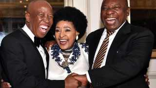Winnie Madikizela-Mandela with Julius Malema and Cyril Ramaphosa at her 80th birthday celebration at Cape Town's Mount Nelson Hotel. Picture: Elmond Jiyane