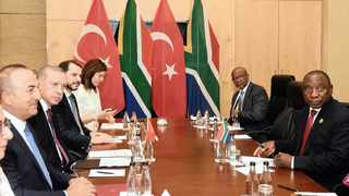 COMMON GROUND: President Cyril Ramaphosa, front right, holds a bilateral meeting with Turkish President Recep Tayyip Erdogan, second from left, on the sidelines of the 10th BRICS Summit at the Sandton International Convention Centre in Johannesburg last month. Picture: Siyabulela Duda