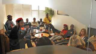 A occupation protest of the WITS VC's office took place on the 11th floor on the WITS campus. The sit in protest was regarding MJL workers whom had been retrenched, the protest was joined by EFF and other WITS students together with the MJL workers. Picture: Antoine de Ras, 28/05/2015
