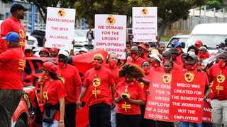 NUMSA members marched to all the offices of the Retail Motor Industry (RMI) in Parow. Picture: Phando Jikelo/African News Agency(ANA)