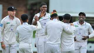 The Dolphins celebrate a wicket on day 1 of their CSA 4-Day game against the Warriors at St Georges Park in Gqeberha. Photo: Deryck Foster/BackpagePix