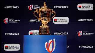 FILE - The Webb Ellis trophy on display during the 2023 Rugby World Cup draw. Photo: Gonzalo Fuentes/Reuters