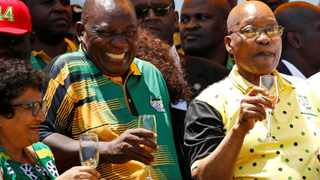 ANC President Cyril Ramaphosa celebrates the party's 106th anniversary with its deputy general secretary Jesse Duarte and former president Jacob Zuma. File Picture: Siphiwe Sibeko / Reuters