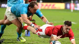 Wales' Tomos Williams scores a try against Uruguay. Photo: Aaron Favila/AP Photo