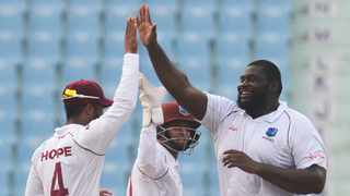 FILE - Rahkeem Cornwall's maiden five-wicket haul gave the West Indies a healthy 113-run first innings lead in the second Test against Bangladesh. Photo: Rohit Umrao/AFP