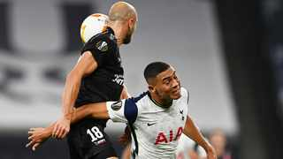 Tottenham Hotspur's Carlos Vinicius is challenged by LASK Linz's Gernot Trauner during their Europa League clash on Thursday. Photo: Dylan Martinez/Reuters