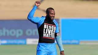 Andile Phehlukwayo of the Takealot Eagles shows his BLM t-shirt during the 2020 Solidarity Cup 3TC cricket match at Supersport Park on 18 July 2020. Photo: Samuel Shivambu/BackpagePix