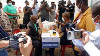 Deputy Minister of Health Dr Joe Phaahla gets the Covid-19 vaccine at the Dr George Mukhari Academic Hospital on Wednesday. Picture: Oupa Mokoena/African News Agency (ANA)