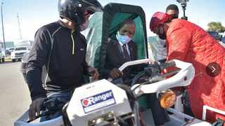 Health Minister Zweli Mkhize at the launch of the scooter project in the Eastern Cape. Picture: Eastern Cape Health Department
