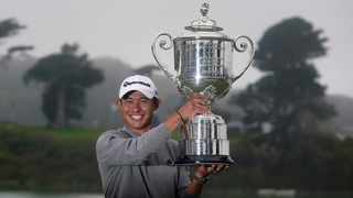 Collin Morikawa displayed nerves of steel to win the PGA Championship on Sunday. Photo: Jeff Chiu/AP
