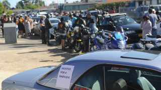 Mitchells Plain car club Bavaria Squad led a car and bike convoy from Mitchells Plain to Bonteheuwel for a peaceful park-off at the place where toddler Levi Isaacs was allegedly killed. Picture: Ayanda Ndamane/African News Agency (ANA)