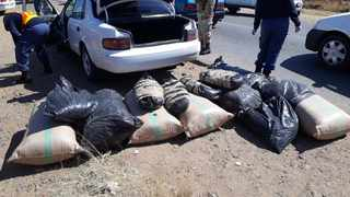 A man driving a car with Lesotho number plates was arrested during a roadblock in the North West after dagga worth R2.2 million was found in the vehicle. Picture: SAPS