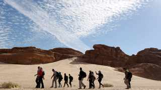 Hikers walk in the Wadi Hudra area in South Sinai, Egypt. Picture taken November 21, 2015. Reuters/Asmaa Waguih