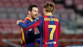 Barcelona forward Antoine Griezmann has dismissed talk of a rift with team mate Lionel Messi. Photo: Albert Gea/Reuters