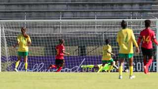 Lonathemba Mhlongo of South Africa scores a goal during the 2020 COSAFA Womens Cup match between South Africa and Angola at the Isaac Wolfson Stadium, Port Elizaberth on the 03 November 2020. Photo: Muzi Ntombela/BackpagePix