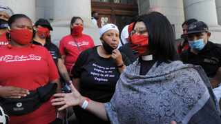 Reverend June Dolley-Major with supporters outside the Western Cape Town High Court last mont. Picture: Armand Hough/African News Agency(ANA)