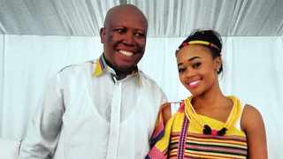 Julius Malema and his bride Mantwa Matlala on their wedding day. Picture: facebook