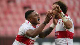 Wnadisile Simelane of the Lions celebrates scoring a try with teammates during the 2021 Preparation Series match between Lions and Sharks at Ellis Park Stadium, Johannesburg, on 20 March 2021 ©Samuel Shivambu/BackpagePix