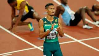 Wayde van Niekerk celebrates after winning gold in the 400m at the 2017 World Championships in London. Photo: John Sibley/Reuters