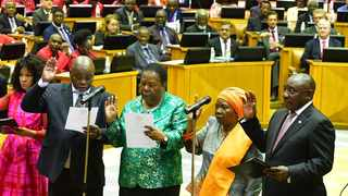 President Cyril Ramaphosa and members of his current cabinet are sworn into Parliament. Picture: GCIS