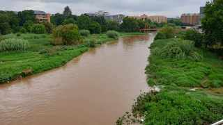 The Hennops river flowing strongly in Centurion. Zeigler Street and End Street were flooded. Picture: Renata Ford