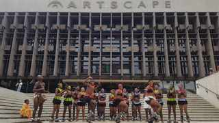Around 80 performers from across Cape Town creatively protested in solidarity with artists occupying the National Arts Council offices in Johannesburg, at the Artscape Plaza on Saturday. Picture: Shakirah Thebus/Cape Argus