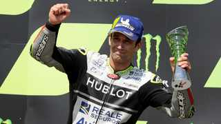August 9, 2020 - Esponsorama Racing's Johann Zarco celebrates third place in the MotoGP race on the podium. Photo: David W Cerny/Reuters