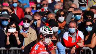 UCI ProTeam Androni GiocattoliÐSidermec rider Mattia Bais wearing a protective face mask before the start of Stage 11. Photo: Reuters