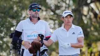 Collin Morikawa (right) and caddie JJ Jakovac look on from the 15th tee during the third round of World Golf Championships at The Concession golf tournament at The Concession Golf Club. Photo: Mike Watters/USA TODAY Sports via Reuters