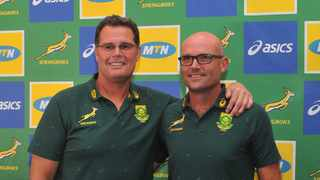 Rassie Erasmus (Director of Rugby) and Jacques Nienaber (Springbok coach) will be acting as the two Team Commissioners for the unique match on 3 October. Photo: Sydney Mahlangu/BackpagePix.