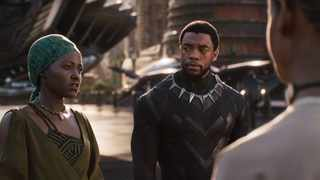 Lupita Nyong'o and Chadwick Boseman in a scene from 'Black Panther'. Picture: Marvel Studios