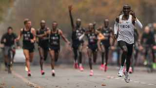 Eliud Kipchoge runs on his way to break the historic two hour barrier for a marathon in Vienna. He became the first athlete to run a marathon in less than two hours, although it will not count as a world record. The Olympic champion and world record holder from Kenya clocked 1 hour, 59 minutes and 40 seconds Saturday at the INEOS 1:59 Challenge, an event set up for the attempt. Photo: Jed Leicester/The INEOS 1:59 Challenge via AP