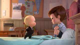 Boss Baby (voiced by Alec Baldwin) tries to convince Tim (voiced by Miles Bakshi) that they must co-operate in The Boss Baby.