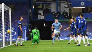 Manchester City's Kevin De Bruyne celebrates scoring their third goal during their Premier League game against Chelsea at Stamford Bridge on Sunday. Photo: Andy Rain/Reuters