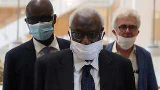 Former president of the IAAF (International Association of Athletics Federations) Lamine Diack arrives with his lawyer William Bourdon, right, at the Paris courthouse in June. File picture: Thibault Camus/AP