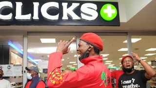 EFF members outside the Clicks store in Goodwood Mall following the furore of images on the Clicks website portraying black hair as dry and damaged. File Picture: Henk Kruger/African News Agency (ANA)