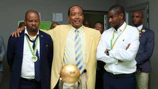 Mamelodi Sundowns president Patrice Motsepe with Manqoba Mngqithi and Rhulani Mokwena in the change room after the club won the 2016 CAF Champions League Final against Egyptian outfit Zamalek. Photo: Gavin Barker/BackpagePix