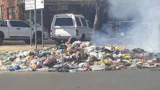 Rubbish and sewerage dumped in the streets of Bronkhorstspruit as part of the Samwu strike.