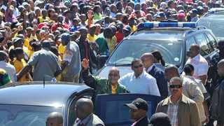 Cape Town -30-03 -14 -President Jacob Zuma on a ANC walkabout in Gugulethu where he greeted locals Picture Brenton Geach