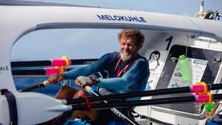 South African solo rower Grant Blakeway completes the last few oar strokes to power Melokuhle into English Harbour, Antigua and Barbuda, for the finish of the 2020Talisker Whisky Atlantic Challenge. Picture: Atlantic Campaigns